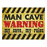Funny Man Cave Warning Sign, my cave, my rules. 200x150mm Self adhesive Sticker. Perfect gift for any man or boys bedroom door! (my cave, my rules)