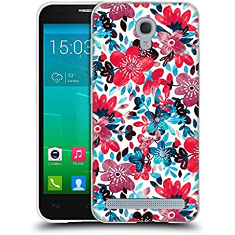 Official Micklyn Le Feuvre Happy Red Flower Collage Floral Patterns 2 Soft Gel Case for Alcatel Idol 2 Mini