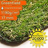 Sehr dichter Kunstrasen Rasenteppich Greenfield   wasserdurchlässig für Balkon, Terasse und Garten   bis 5 m Breite, Größe: 100x1000 cm