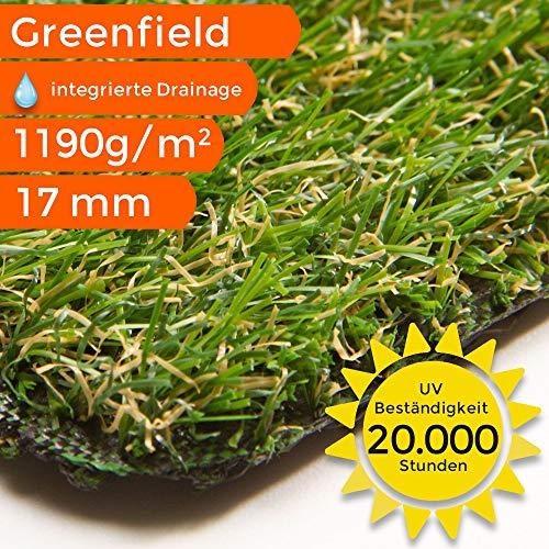 Sehr dichter Kunstrasen Rasenteppich Greenfield | wasserdurchlässig für Balkon, Terasse und Garten | bis 5 m Breite, Größe: 100x50 cm