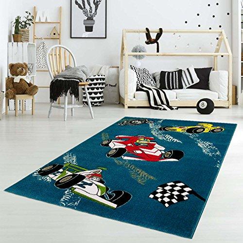 carpet city Kinderteppich Spielteppich Flachflor Junior mit Rennauto/Rennfahrer-Motiv in Blau für Kinderzimmer: Größe 133x190 cm