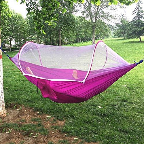 YXLAB Hängematte Automatische Moskitonetz Hängematte Einzel Outdoor Doppel Fallschirm Tuch Hängematte Anti-Maus Indoor und Outdoor Schaukel Stuhl - Solid Color (Farbe : Purple)