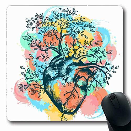 Mousepads Gesundheit Grüne Anatomie Anatomisches menschliches Herz Welcher Baum Lebensstil wächst Liebe Aquarell Arterienschlag Längliche Form Rutschfeste Gaming-Mausunterlage Längliche Gummimatte,Gum