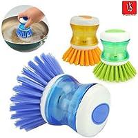 Unyks Star Dish/Washbasin Plastic Cleaning Brush with Liquid Soap Dispenser (2 Pcs)