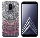 yayago Hülle für Samsung Galaxy A6 [2018] Silikon Schutzhülle Hülle Case Backcover Tattoo Ornament Mandala Design transparent Tasche