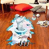 3D Aufkleber, Huihong EisbäR 3D Wandaufkleber Boden Dekor Wandbild Abnehmbare Kunst Vinyl Aufkleber Zimmer Wohnzimmer Boden Dekoration 60cm * 90cm