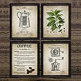 Meyardecor Coffee Making Stampa Poster Vintage caffè Percolatore e Chicco di caffè Wall Art Canvas Pittura Tipi di caffè Picture Home Decor 50x70cm Senza Cornice