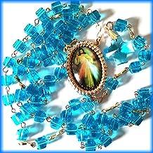 Rosario divina misericordia. 6 millimetri blu zircone cubi lungo 56 centimetri