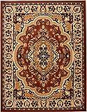 Carpeto Klassischer Orientteppich & Perserteppich mit Orientalisch Muster Kurzflor in Beige Braun/Top Preis - ÖKO Tex (100 x 250 cm)