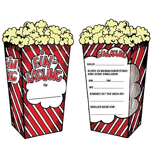 6 Einladungskarten * POPCORN-KINO * für Kindergeburtstag und Party von DEKOSPASS // Kinder Geburtstag Party Kinderparty Kinogeburtstag Einladung Einladungen Karte Einladungs-Set Motto Mottoparty 3D Cinema Kino Popcorn
