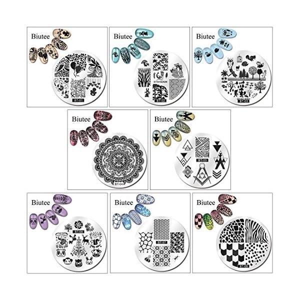Biutee 16pcs Placas para uñas de Flores,Animales y image Geométrico +1 Estampador de uñas +1 Rascador +1Bolsa de…