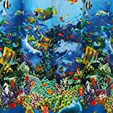 Omiky® 70.9*70.9 inch Ocean Fish Coral Sea Life Shower Curtain,Waterproof Mouldproof Thickened Polyester 180*180cm Bathroom Curtain and 12pcs C-Type Hooks (Blue/Ocean)