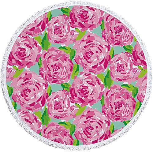 JUNYZSTJ Toalla Playa Redonda borlas Flor Color Rosa