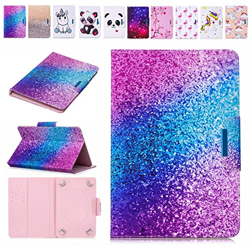 E-Mandala 8 Zoll Hülle Leder Flip Case Tablet PC Tasche mit Kartenfach Ledertasche Lederhülle - Marmor Marble Lila Blauer