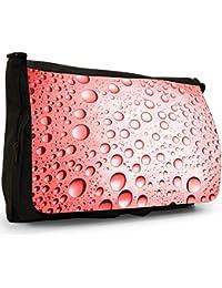 Preisvergleich für Farbige Wassertröpfchen Große Messenger- / Laptop- / Schultasche Schultertasche aus schwarzem Canvas