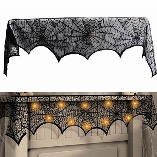 Bello Luna Halloween Kamin Schal Cover Schwarz Spitze Spinne Web Mantel Abdeckung Festliche Party Supplies - Halloween Bella Luna