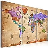 murando Quadro Mappamondo Vintage 120x80 cm 3 Pezzi Stampa su Tela in TNT XXL Immagini Moderni Murale Fotografia Grafica Decorazione da Parete Mappa del Mondo k-A-0381-b-e