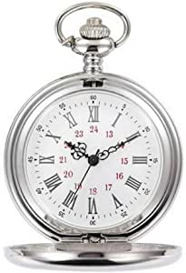 Smooth Vintage Steel Quartz Pocket Watch Classic Fob Pocket Watch with Short Chain for Men Women - Gift for Birthday Anniversary Day Christmas Fathers Day (Silver)