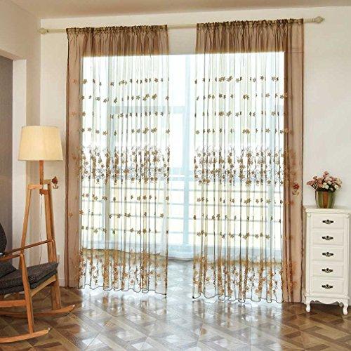 Sunlera Multifunzione Piccolo Fiore Ricamato Voile Curtain Tulle Finestra Drapery Tende Sheer Traspirante Organza Trasparente