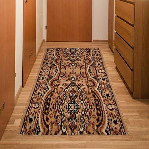 Alfombra De Pasillo Tradicional - Color Beige Oscuro De Diseño Oriental - Mejor Calidad - Diferentes Dimensiones S-XXXL 70 x 400 cm