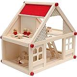 eyepower Puppenhaus aus Holz für Kinder, 2-stöckig   Mit vier süßen Figuren und Möbeln   Puppenstube 40x29x38cm   Spielzeug ab 3 Jahren