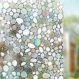 Liveinu Fensterfolie Statisch Sichtschutz Fensterfolie Dekorfolie Sichtschutzfolie Anti-UV 3D Fensterschutzfolie Ohne Klebstoff Selbsthaftend für Privatleben Wohnung Büro 60x300cm Kleiner Stein Muster