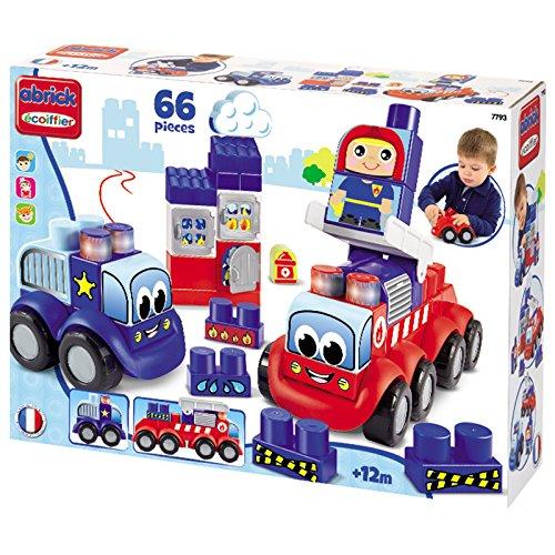 Bausteine Set mit Polizei und Feuerwehrauto schon für Kinder ab 12 Monaten • Feuerwehr Spielzeug Polizeiwagen Auto
