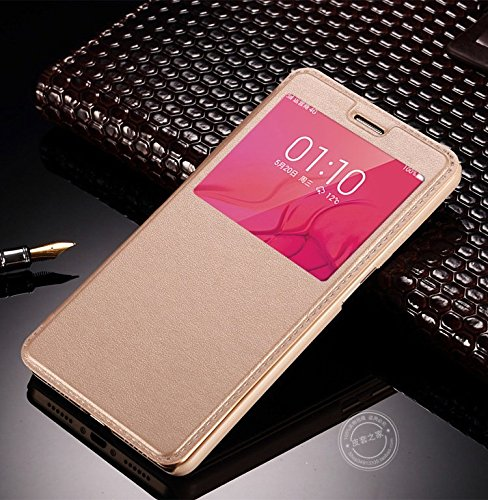 AE (TM) Cover VIVO V3 MAX SVIEW Window Flip Leather Finish Textured Case Cover - GOLD