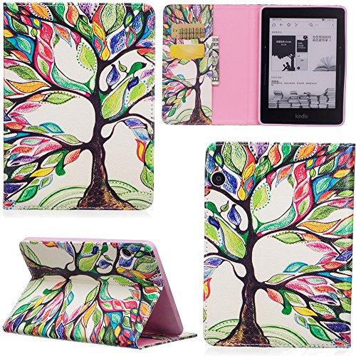 ge Hülle PU Leder Tasche Schutzhülle Cover Case Wallet Brieftasche Stand für Kindle Voyage - Bunt Baum ()