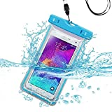 Funda Impermeable para LG Volt 2 LS751, Tribute 2 LS665, G4 Beat, Bello II, G4C, Escape 2/Lancet/Logos/Ultimate 2 (con cordón), Color Azul Claro y Mini lápiz Capacitivo de MyNETDEALS