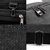 Brand New Mens Canvas Vintage School Satchel Messenger Military Shoulder Leather Bag (Black)