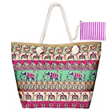 MOOKLIN Beach Bag Holiday Tote Bags Women Large Summer Canvas Travel Shoulder Bag Shopping Bag with Small Handbag for Girls Ladies Women - Elephant