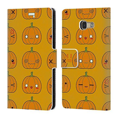 Head Case Designs Kürbis Muster Halloween Kawaii Brieftasche Handyhülle aus Leder für Samsung Galaxy A5 (2017)