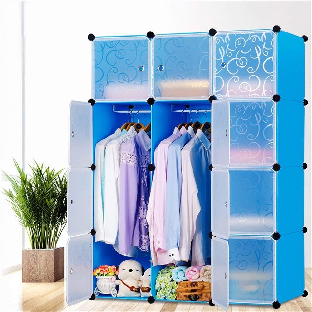 Kleiderschrank aus Kunststoff DIY Regalsystem Garderobenschrank Steckregalsystem Garderoben Steckregal Aufbewahrung, 12 Würfeln mit Türen, Blau 3
