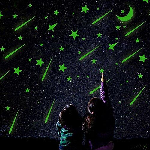 meetory Glow in the Dark Sterne, 171PCS selbstklebend Glowing Monde und Sterne Luminous Wand Aufkleber Sticker Glowing für Decke, Kid Betten Raum, Wand und Fenster