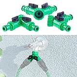 Royal Gardineer Gartenschlauch-Verteiler: 2-Wege-Wasserhahn-Adapter mit 2 Ventilen für Gartenschläuche, 3er-Set (Regulierbare Wasserverteiler)