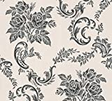 A.S. Création Strukturprofiltapete Belle Epoque Tapete klassisch barock 10,05 m x 0,53 m grau metallic schwarz Made in Germany 338673 33867-3