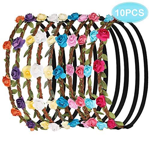 Faburo 10 Pezzi Multicolore Ghirlande Fasce del Fiori con Il Nastro Elastico Regolabile per addio al nubilato, Donna Ragazza o Bambina
