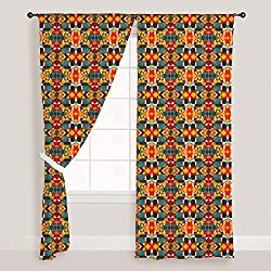 ArtzFolio Tribal Art - Portrait Shape 4feet x 7feet; SET OF 3 PCS - CURTAIN for ROOM & WINDOW of PREMIUM SATIN Fabric: Digital Printed Wall Curtain: Home Dcor for Living Room, Dining Room, Bedroom, Kids Room, Dining Room, Offices, Meeting Rooms : Abstract : Digital Art