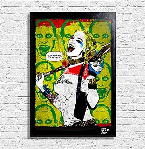 Harley Quinn, Suicide Squad film, Dc Comics - Illustration originale encadrée, peinture, presse artistique, poster, toile imprimée, art contemporain, image sur toile, affiche d'art, bandes dessinées