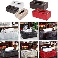 Sharplace Kosmetiktücherbox aus PU-Leder Taschentuchspender Papiertuchspender Tissuebox 25 * 14 * 9.5cm - Schwarz Braun