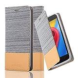 Cadorabo Hülle für Motorola Moto C Plus - Hülle in HELL GRAU BRAUN – Handyhülle mit Standfunktion und Kartenfach im Stoff Design - Case Cover Schutzhülle Etui Tasche Book