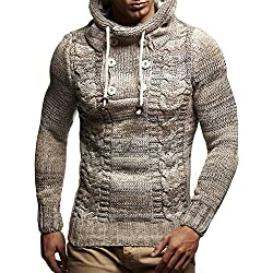 LEIF NELSON Hombres Sudadera con Capucha Jersey de Punto de Manga Larga suéter Sudadera LN20227; tamaño