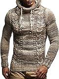LEIF NELSON Herren Pullover Hoodie Kapuzenpullover Strickpullover Longsleeve Sweater Sweatshirt Pulli LN20227; Größe M, Beige