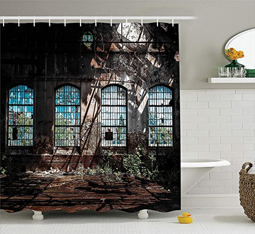 Industrial Decor Collection, Industrial Interior with Bright Light from Tall Windows Ruins Hallway Station Shadow Image, Polyester Fabric Bathroom Shower Curtain, 66x72 inches Extra Long, Brown -