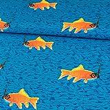 Stoffe Werning Dekostoff Fische mit Schnorchel Royalblau Canvasstoff Goldfisch Deko - Preis Gilt für 0,5 Meter