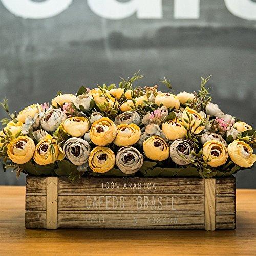 Flinfeays fiori artificiali fiori finti creativi recinzioni in legno fai da te regali di festa festa di nozze cucina home decor vaso di fiori vaso in legno molto realistico retro color-05