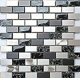 30x30cm Edelstahl und Gebrochener Glas Optik Mosaik Fliesen Matte in Schwarz und Silber MT0137 Matte