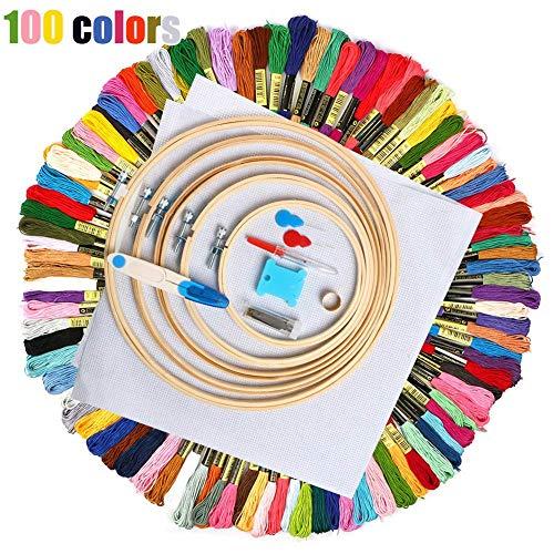 J.W. 100 Stickgarn Farbstick Nähgarn Stickgarn Crafts auf 100% Baumwolle, Sticken, Knüpfen, Handwerk, Stitch,Weiß -
