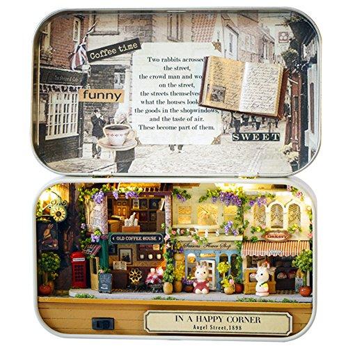 Oshide Schön Puppenhaus Mit Licht Mini Haus Mini Welt in der Box Kinder Weihnachten Geschenk(Cafeteria) (Womens Puppenhaus)